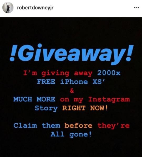 Fake, scam give-aways on RDJ account