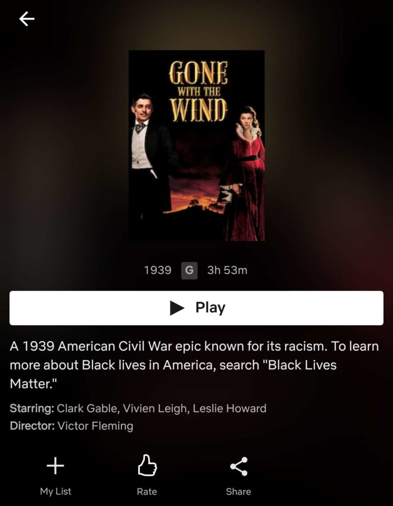 Gone With The Wind racist on Netflix
