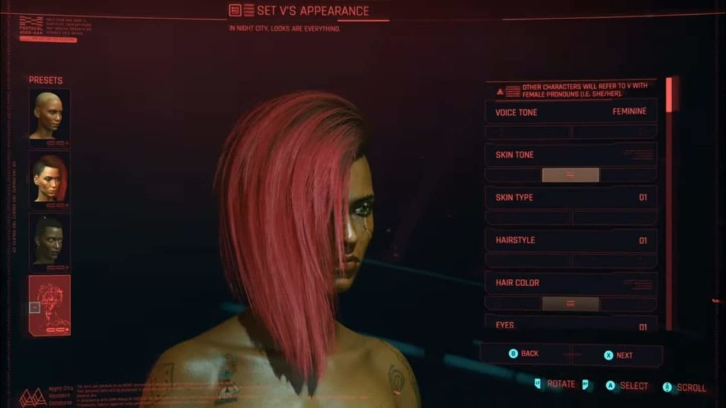 Cyberpunk 2077 pronouns character customisation