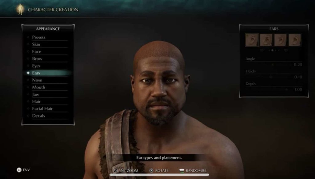 Kanye West made using character creation