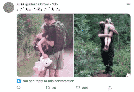 A Twitter post by Ellesclub depicting a child being abducted and then carried through the woods. This Tweet was later removed but the account remains.